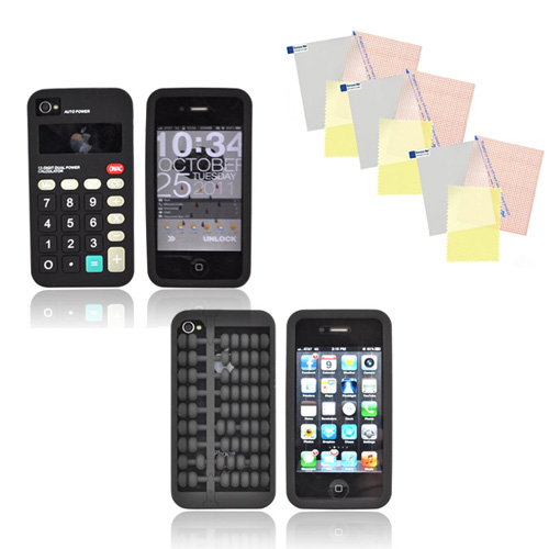 AT&T/ Verizon Apple iPhone 4, iPhone 4S Geeky Calculator Bundle w/ Black Abacus Silicone Case, Black Calculator Silicone Case, & 3 Pack Screen Protectors