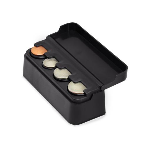 Car Interior Plastic Coin Case Storage Box Holder Container Organizer [Black]