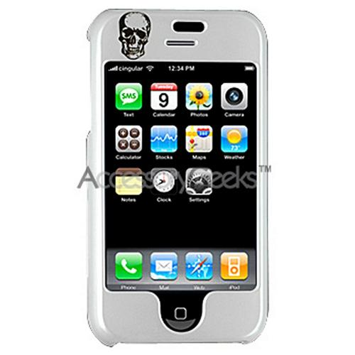 Apple iPhone Designer Hard Case - Skull and Wing (Pearl White)