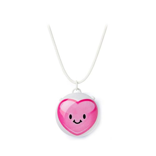Talkatoo Voice Message Recording Pendant w/ Clip - Pink Heart on White