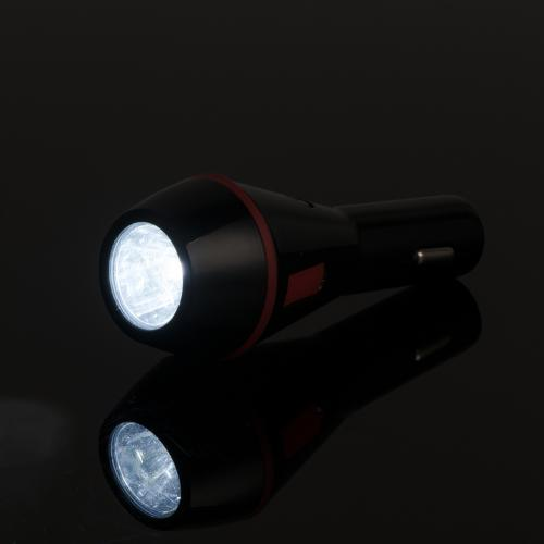 Universal Lifesaver 2A Dual USB Car Charger w/ LED Flashlight & Emergency Window Breaker [Black/Red]