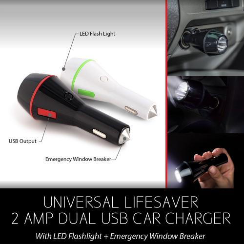 Universal Lifesaver 2A Dual USB Car Charger w/ LED Flashlight & Emergency Window Breaker [White/Green]