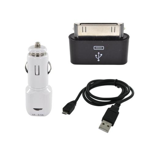 Universal Dual USB (3100 mAh) Car Charger w/ Micro USB Data Cable & Micro USB to Apple iPad/ iPhone/ iPod Adapter (5 pin to 30 Pin)