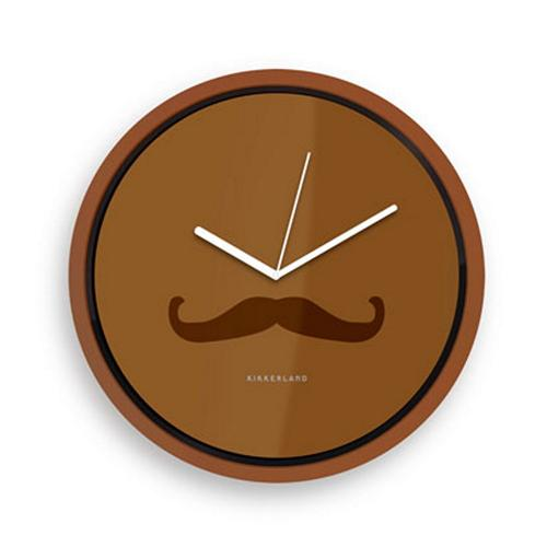 Brown Wall Clock w/ Mustache