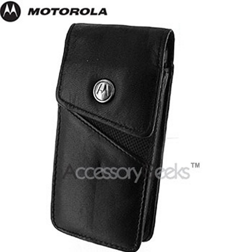 Original Motorola L7 Black Leather Pouch w/ Ballistic Trim, CLV802