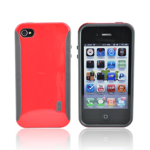 Original Case-Mate Apple Verizon/ AT&T iPhone 4, iPhone 4S Hard Pop! Case w/ Screen Protector, CM013306 - Gray/Red