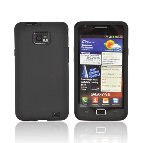 Original Case-Mate AT&T Samsung Galaxy S2 Tough Rubberized Hard Case on Silicone, CM014056 - Black