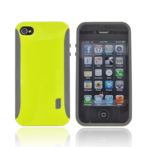 Original Case-Mate AT&T/ Verizon Apple iPhone 4, iPhone 4S POP! Hard Case, CM015467 - Neon Lime Green/ Gray