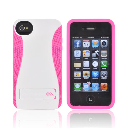 Original Case-Mate AT&T/ Verizon Apple iPhone 4, iPhone 4S POP! Hard Case w/ Kickstand, CM017857 - White/ Hot Pink