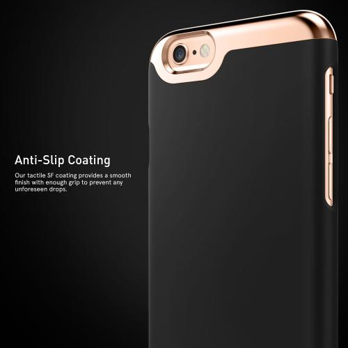 [Apple iPhone 6/6S] Case, Caseology [Savoy Series] Chrome / Microfiber Slider Case [Black] [Premium Rose Gold]