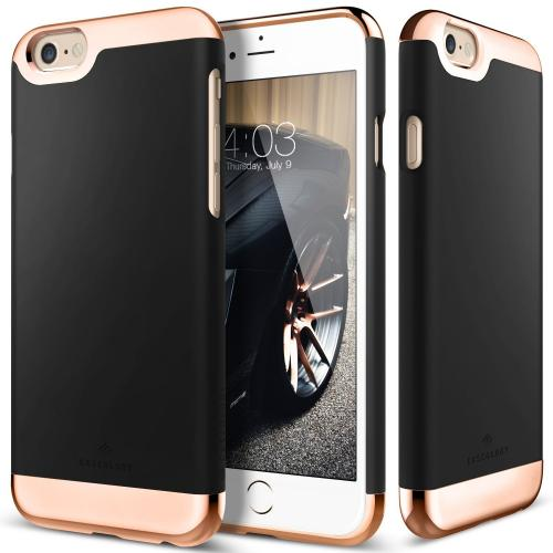 Apple iPhone 6S/6 Case, Caseology [Savoy Series] Chrome / Microfiber Slider Case [Black] [Premium Rose Gold]