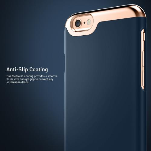Apple iPhone 6S/6 Case, Caseology [Savoy Series] Chrome / Microfiber Slider Case [Navy Blue] [Premium Rose Gold]