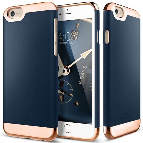 [Apple iPhone 6/6S] Case, Caseology [Savoy Series] Chrome / Microfiber Slider Case [Navy Blue] [Premium Rose Gold]