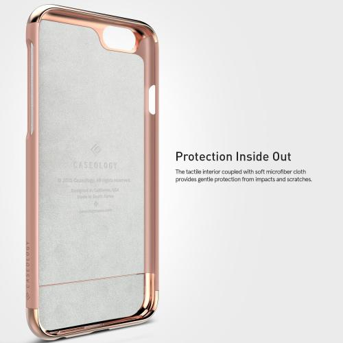 [Apple iPhone 6/6S] Case, Caseology [Savoy Series] Chrome / Microfiber Slider Case [Rose Gold] [Premium Rose Gold]