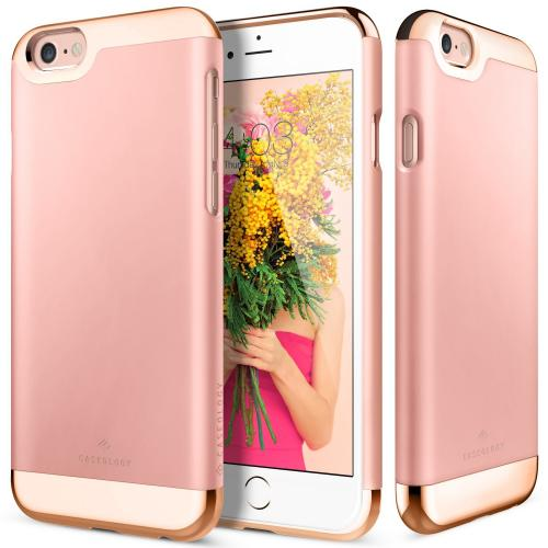 Apple iPhone 6S/6 Case, Caseology [Savoy Series] Chrome / Microfiber Slider Case [Rose Gold] [Premium Rose Gold]