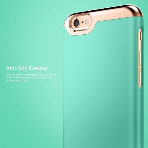 [Apple iPhone 6/6S] Case, Caseology [Savoy Series] Chrome / Microfiber Slider Case [Turquoise Mint] [Premium Rose Gold]