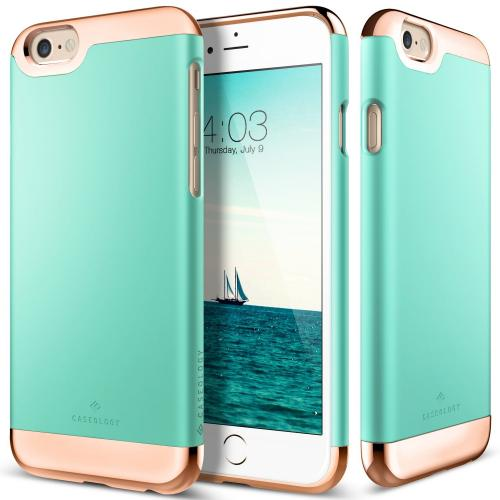 Apple iPhone 6S/6 Case, Caseology [Savoy Series] Chrome / Microfiber Slider Case [Turquoise Mint] [Premium Rose Gold]