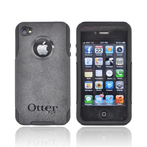 Original Otterbox AT&T/ Verizon Apple iPhone 4, iPhone 4S Commuter Series Hard Case on Silicone w/ Screen Protector - Black [OPEN BOX]
