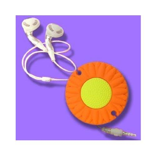 Universal Headset Cord Wrapper - Orange Daisy