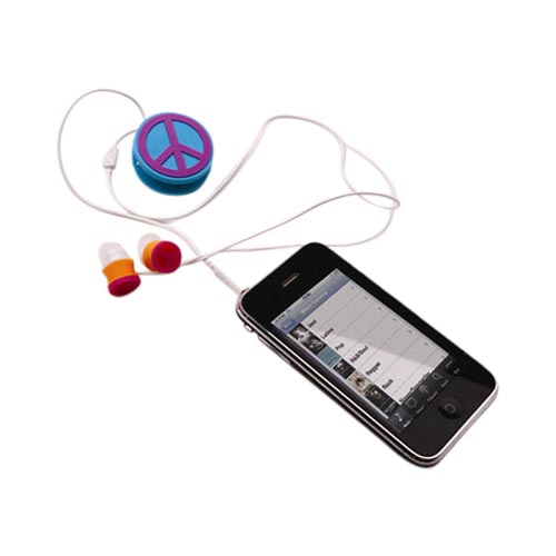 Universal Headset Cord Wrapper - Purple,Blue Peace