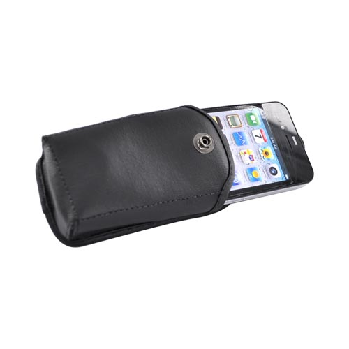 Original TurtleBack Premium Universal Leather Case w/ Swivel Clip - Black Medium Bar Size Phones