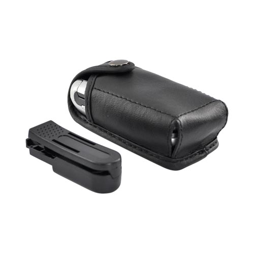 Original TurtleBack Premium Universal Leather Case w/ Swivel Clip - Black (FM)