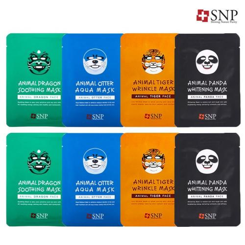 [SNP] Animals Character Printed Mask (4 Types X2) - 8 Pack
