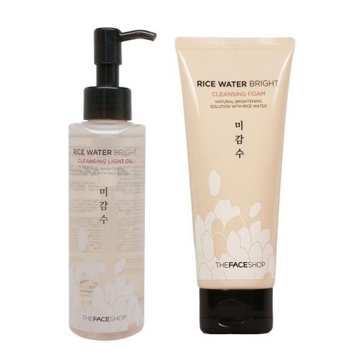 [THE FACE SHOP] Rice Water Bright (Cleansing Oil 150 ml + Foam 150 ml) 2pcs/set