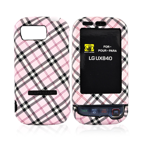 Original Body Glove LG Tritan UX840 Posh Snap-On Hard Case CRC91356 - Pink, Grey, White Plaid Design