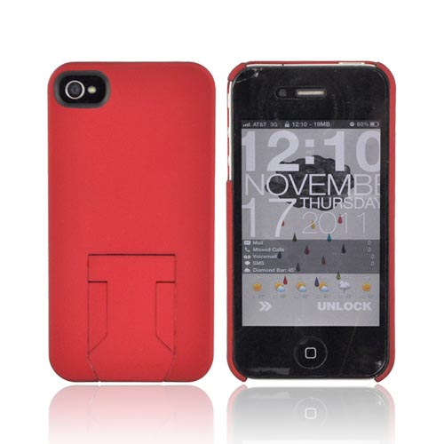 Original Body Glove AT&T/ Verizon Apple iPhone 4, iPhone 4S Slim Protective Rubberized Hard Case w/ Built-In Kickstand & Screen Protector, CRC92532 - Red