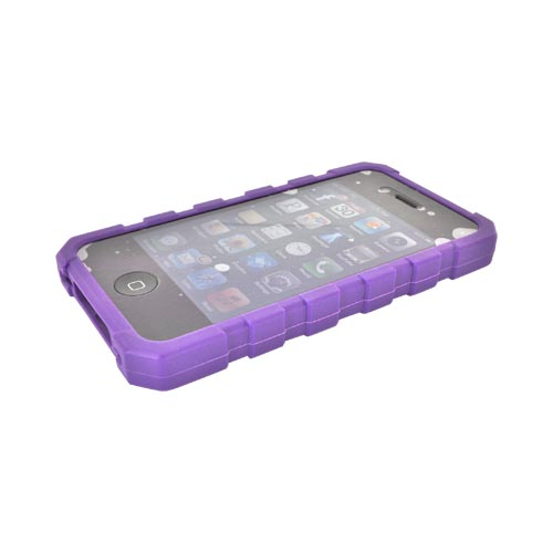 Original Body Glove AT&T/ Verizon Apple iPhone 4, iPhone 4S Drop Suit Crystal Silicone Case w/ Textured Lines, CRC92634 - Purple