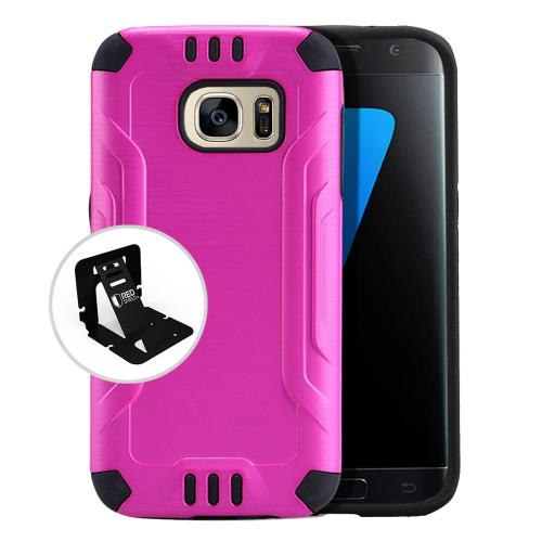 Samsung Galaxy S7 Case, Slim Armor Brushed Metal Design Hybrid Hard Case on TPU [Hot Pink]