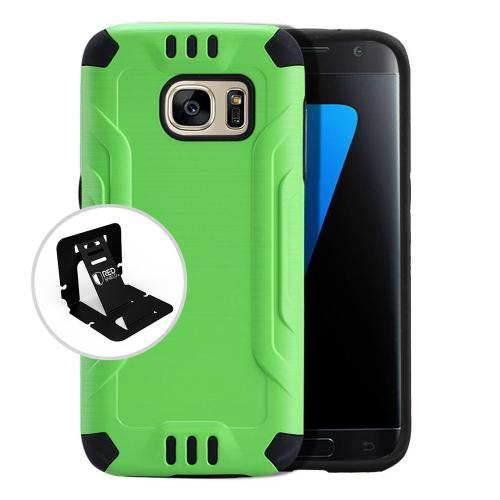 Samsung Galaxy S7 Case, Slim Armor Brushed Metal Design Hybrid Hard Case on TPU [Neon Green]