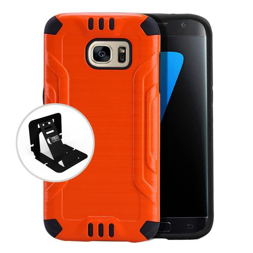 Samsung Galaxy S7 Case, Slim Armor Brushed Metal Design Hybrid Hard Case on TPU [Orange]