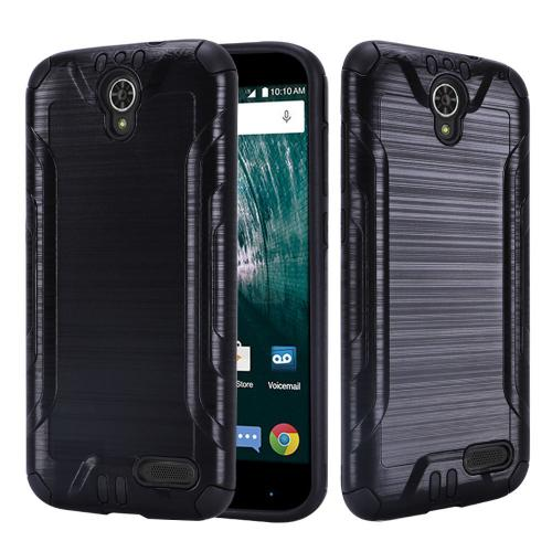 [ZTE Warp 7/ Grand X3/ Grand X 3] Case, Slim Armor Brushed Metal Design Hybrid Hard Case on TPU [Black]