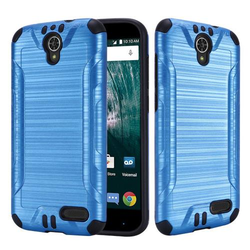 [ZTE Warp 7/ Grand X3/ Grand X 3] Case, Slim Armor Brushed Metal Design Hybrid Hard Case on TPU [Blue]