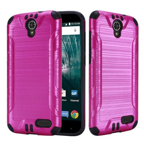 [ZTE Warp 7/ Grand X3/ Grand X 3] Case, Slim Armor Brushed Metal Design Hybrid Hard Case on TPU [Hot Pink]