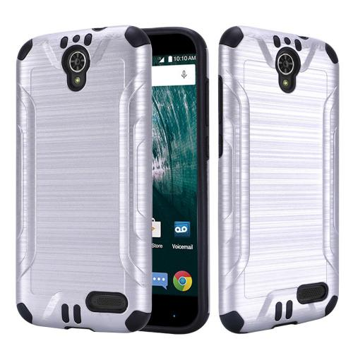[ZTE Warp 7/ Grand X3/ Grand X 3] Case, Slim Armor Brushed Metal Design Hybrid Hard Case on TPU [Silver]