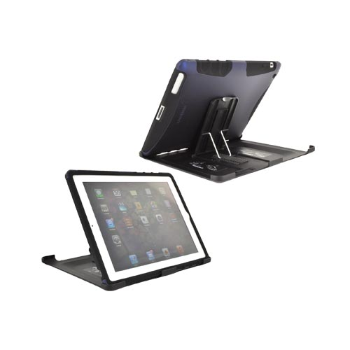 Original Seidio Apple iPad 2, New iPad Active Rubberized Hard Case Over Silicone w/ Multi-Purpose Stand, CSK5IPD2-BL - Blue/ Black