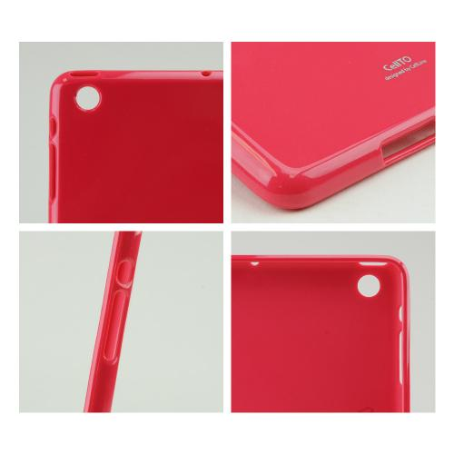 Hot Pink Anti-Slip TPU Crystal Silicone Skin Case & Free Screen Protector for Apple iPad Mini 2/3