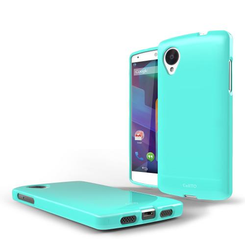 Mint Anti-Slip TPU Crystal Silicone Skin Case & Free Screen Protector for Google Nexus 5