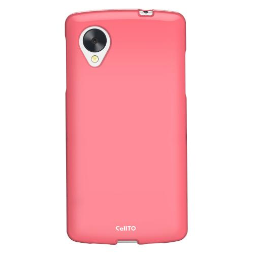 Hot Pink Anti-Slip TPU Crystal Silicone Skin Case & Free Screen Protector for Google Nexus 5