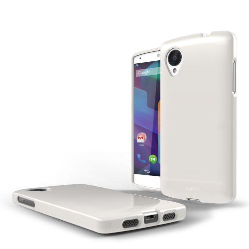 White Anti-Slip TPU Crystal Silicone Skin Case & Free Screen Protector for Google Nexus 5 Case