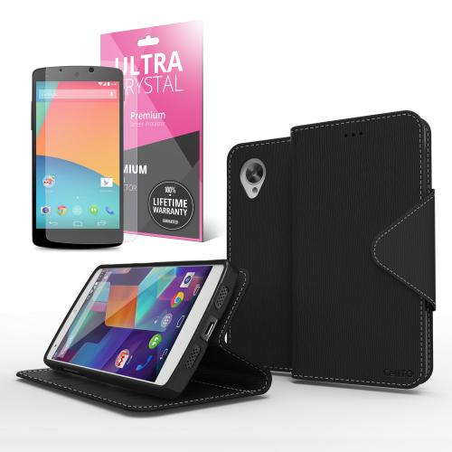 Black Faux Leather Diary Flip Stand Case w/ ID Slots, Bill Fold & Magnetic Closure for Google Nexus 5 Case