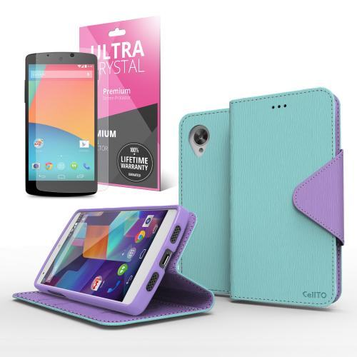 Mint/ Purple Faux Leather Diary Flip Stand Case w/ ID Slots, Bill Fold & Magnetic Closure for Google Nexus 5 Case