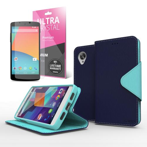 Navy Blue/ Mint Faux Leather Diary Flip Stand Case w/ ID Slots, Bill Fold & Magnetic Closure for Google Nexus 5 Case