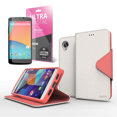 Faux Leather Diary Flip Stand Case w/ ID Slots, Bill Fold & Magnetic Closure for Google Nexus 5 Case White/ Hot Pink