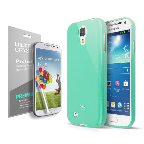 Anti-Slip TPU Crystal Silicone Skin Case for Galaxy S4 Mini Mint