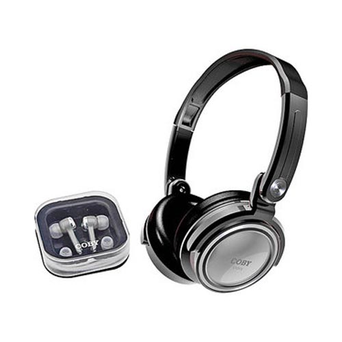 Original Coby Universal Digital Stereo Headset w/ Extra Earphones, CV215SVR - Silver (3.5mm)