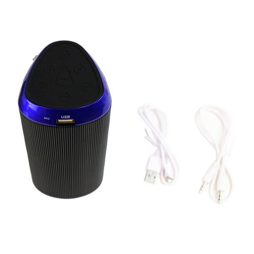 CycloneSound FLASH Portable Mini Bluetooth Music Speaker w/ Memory Card Slot & LED Lights [Blue]